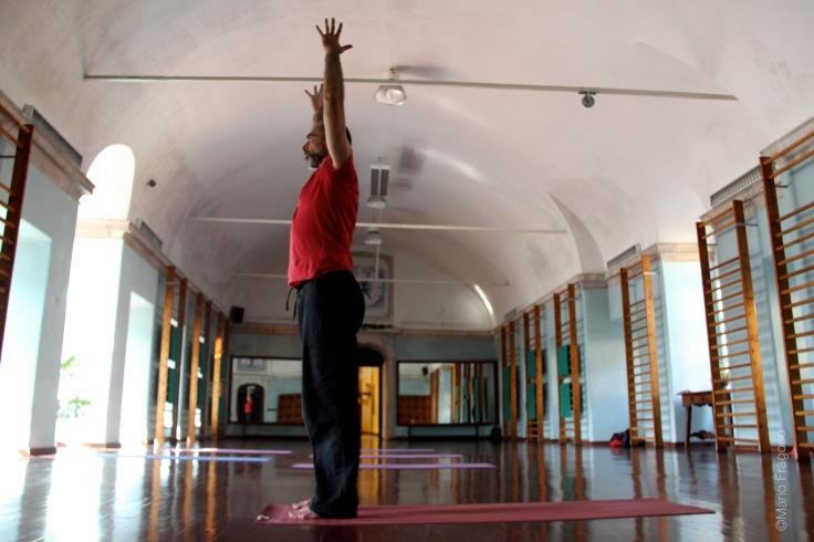 18b. Hurdvha Hastasanauttitha tadasana braços sobem, dedos voltados para o tecto, subir o corpo até à posição vertical