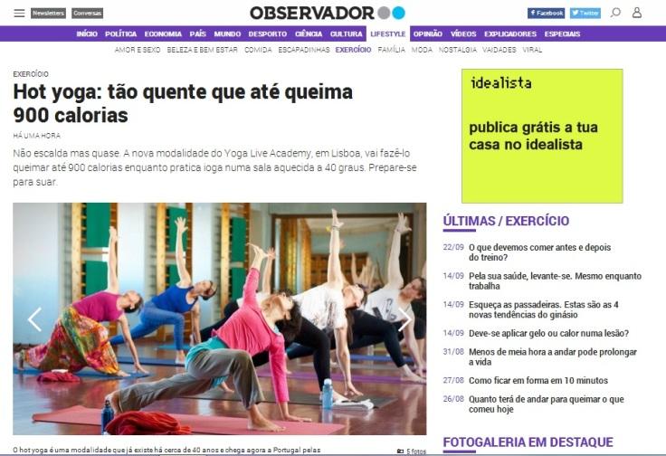 Hot yoga tónico no Observador