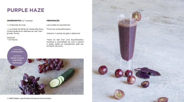 Sumo detox com uva, manjericão e pepino